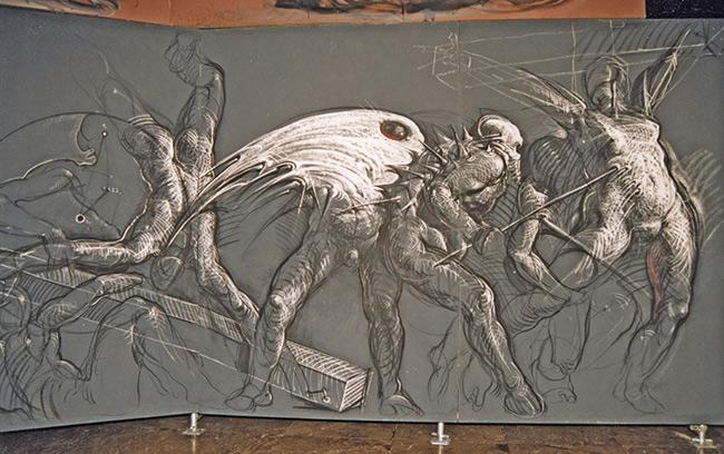 Wzloty ukrzyżowanych , fragment, obraz na płótnie, 1991