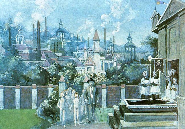 Za miastem, tempera, papier, tektura, 12 x 20 cm, 1970