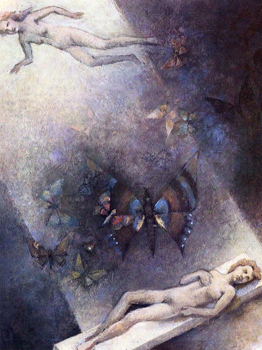 Odlot wykojarzony, tempera, papier, tektura, 21 x 16, 8 cm, 1985
