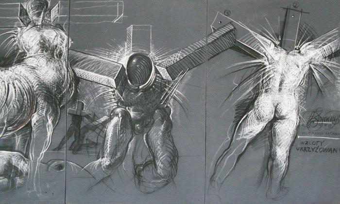 Wzloty ukrzyżowanych II, obraz na płótnie, 1991, Poznań Fot. Arth