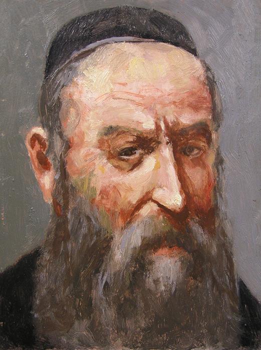 Głowa Żyda, olej na płycie, 24 x 18 cm, 2003