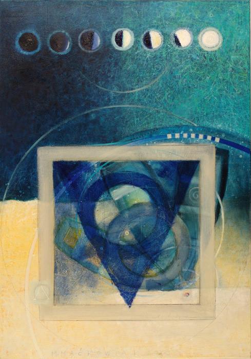 """Z serii """"...a w moim akwarium"""", olej na pł.,100 x 70 cm, 2003"""