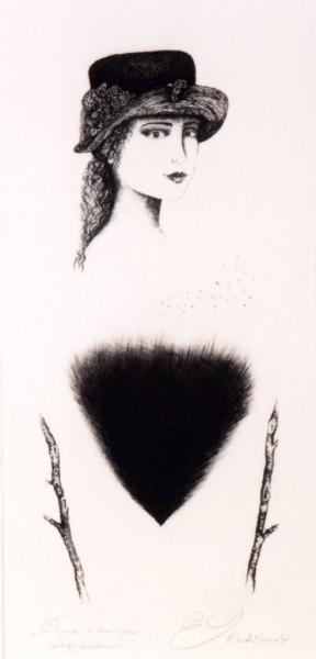 Elżbieta Radzikowska – Dama z czarnym trójkątem, akwaforta